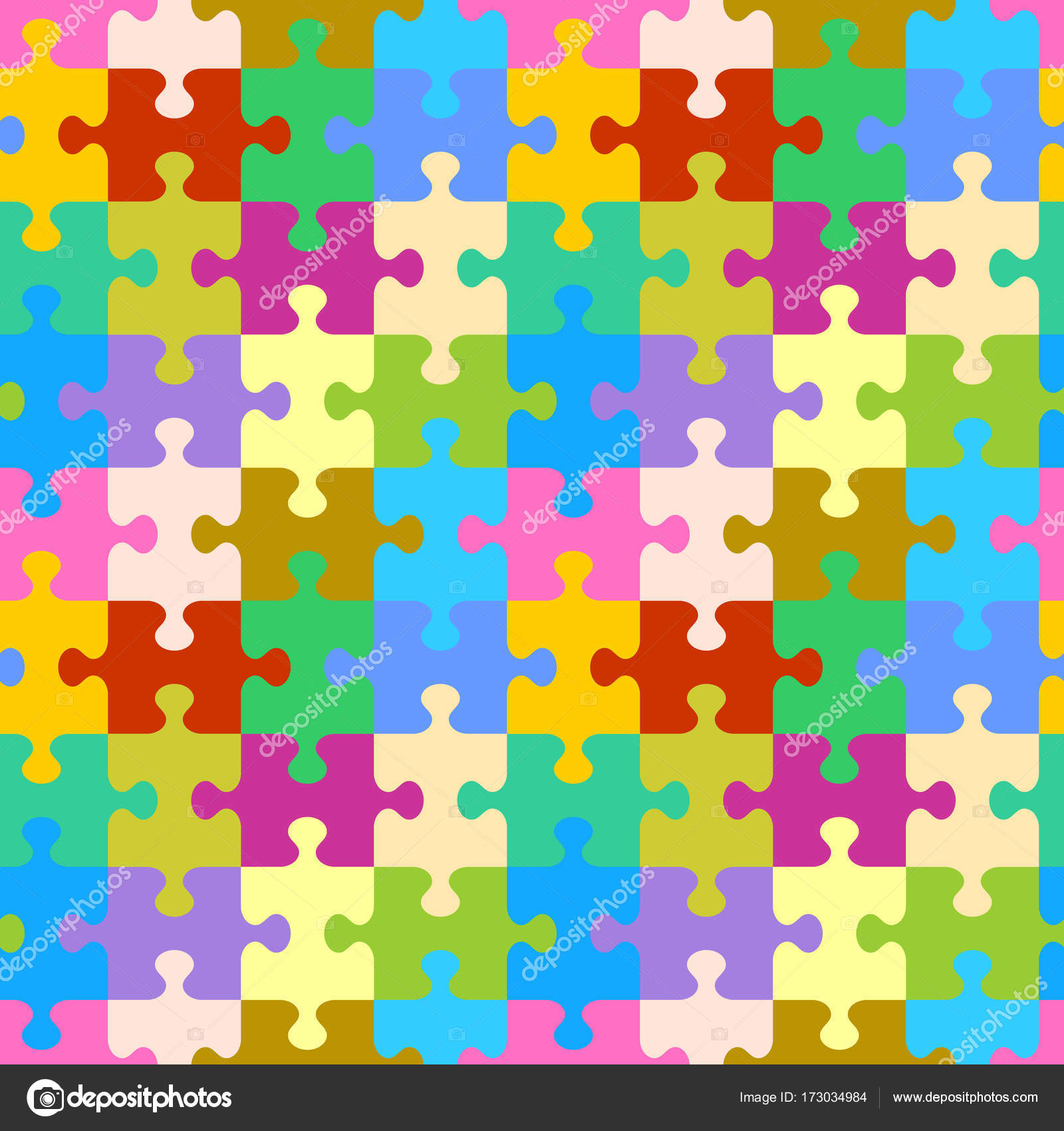 Seamless You See 4 Tiles Colorful Jigsaw Puzzle Pattern Background Print Swatch Or Wallpaper With Classically Shaped Pieces Vector By Ratselmeister