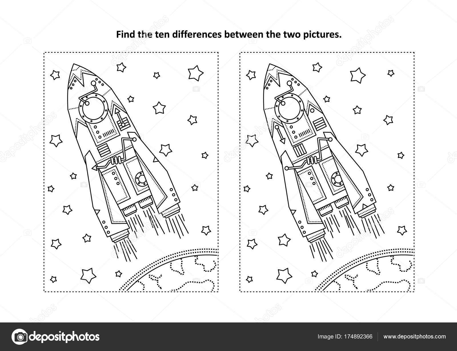 Uzay Araştırmaları Temalı Bulmak Farklılıklar Resimli Bulmaca Roket