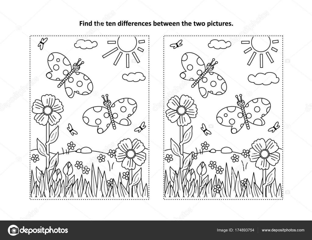 Bahar Yaz Temalı Bul Farklılıklar Resimli Bulmaca Boyama Sayfası