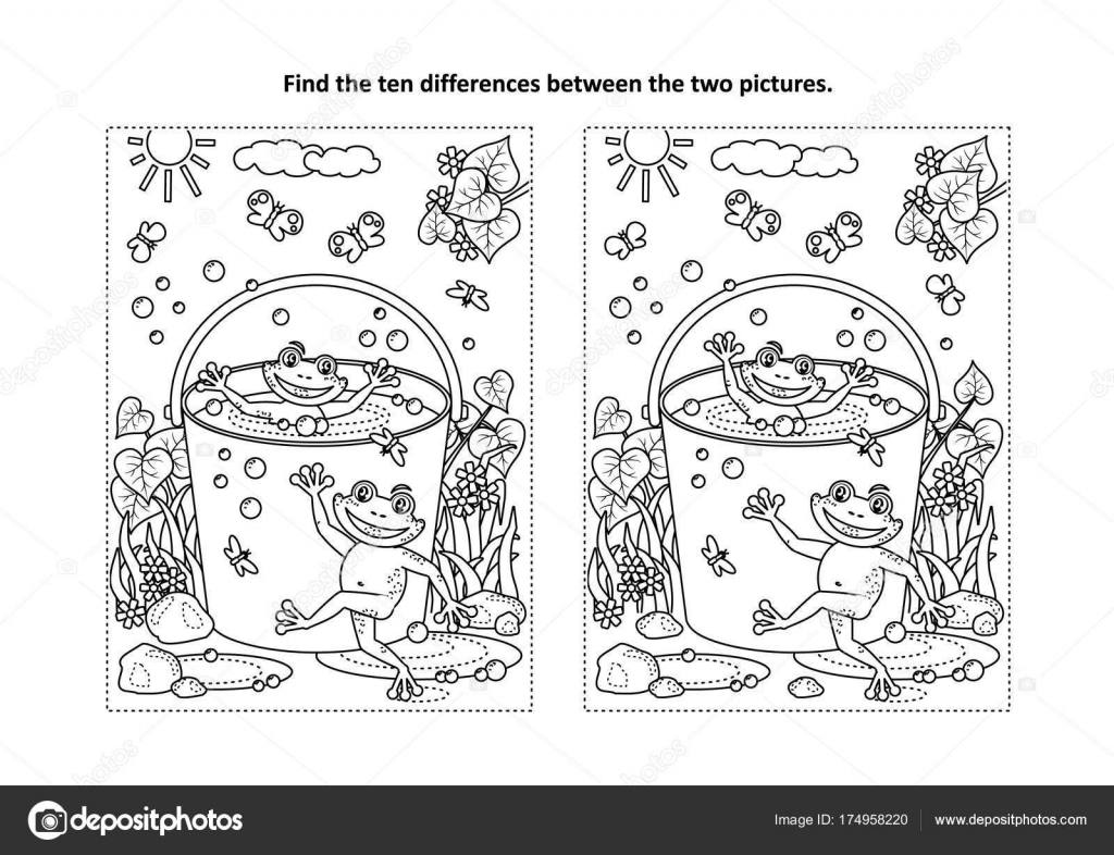 Summer Joy Themed Find Ten Differences Picture Puzzle Coloring Page ...