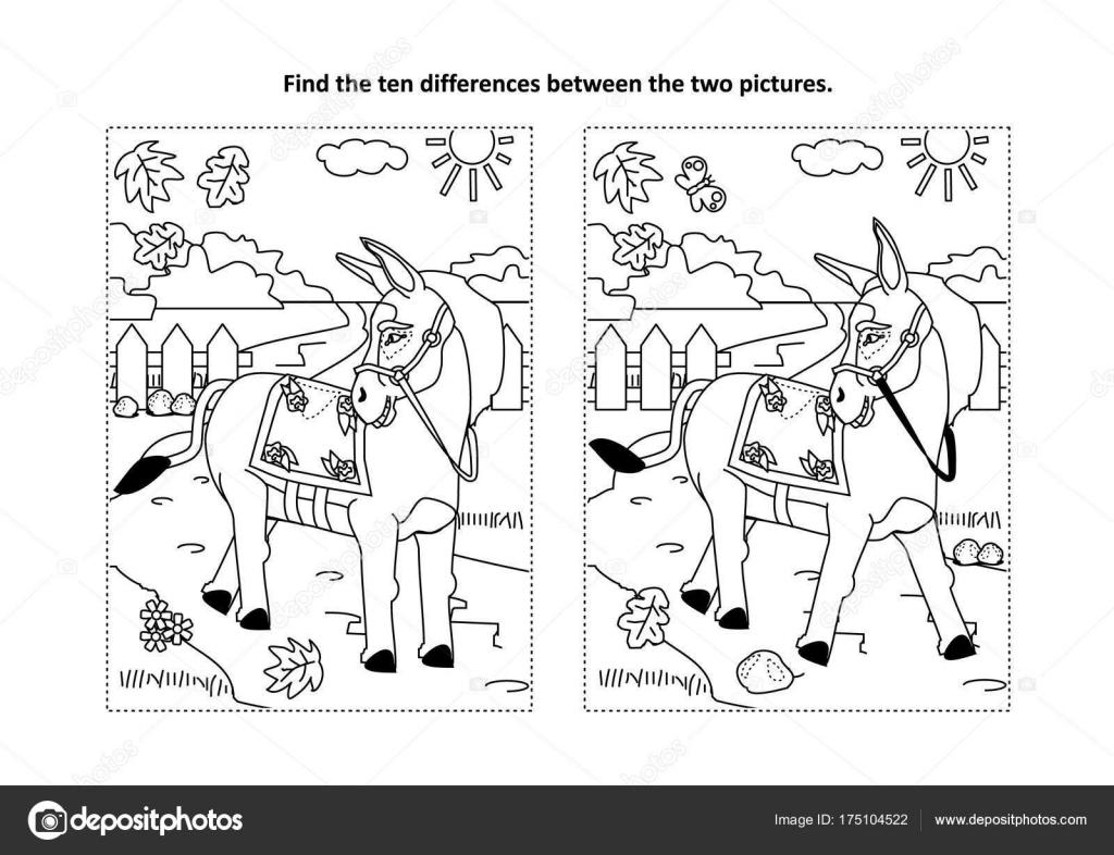 Zoek Tien Verschillen Afbeeldingspuzzel Kleurplaat Met Ezel Burro
