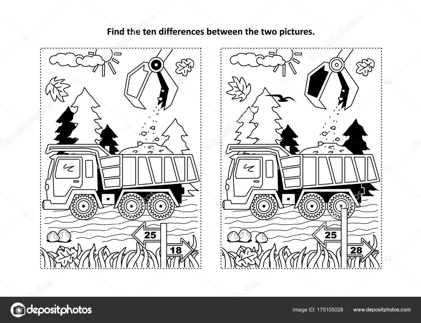 Finden Sie Die Zehn Unterschiede Bilderrätsel Und Malvorlagen Mit ...