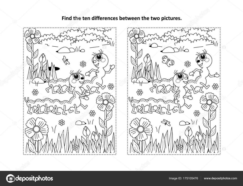 Bahar Yaz Temalı Farklılıklar Resimli Bulmaca Boyama Sayfası Iki