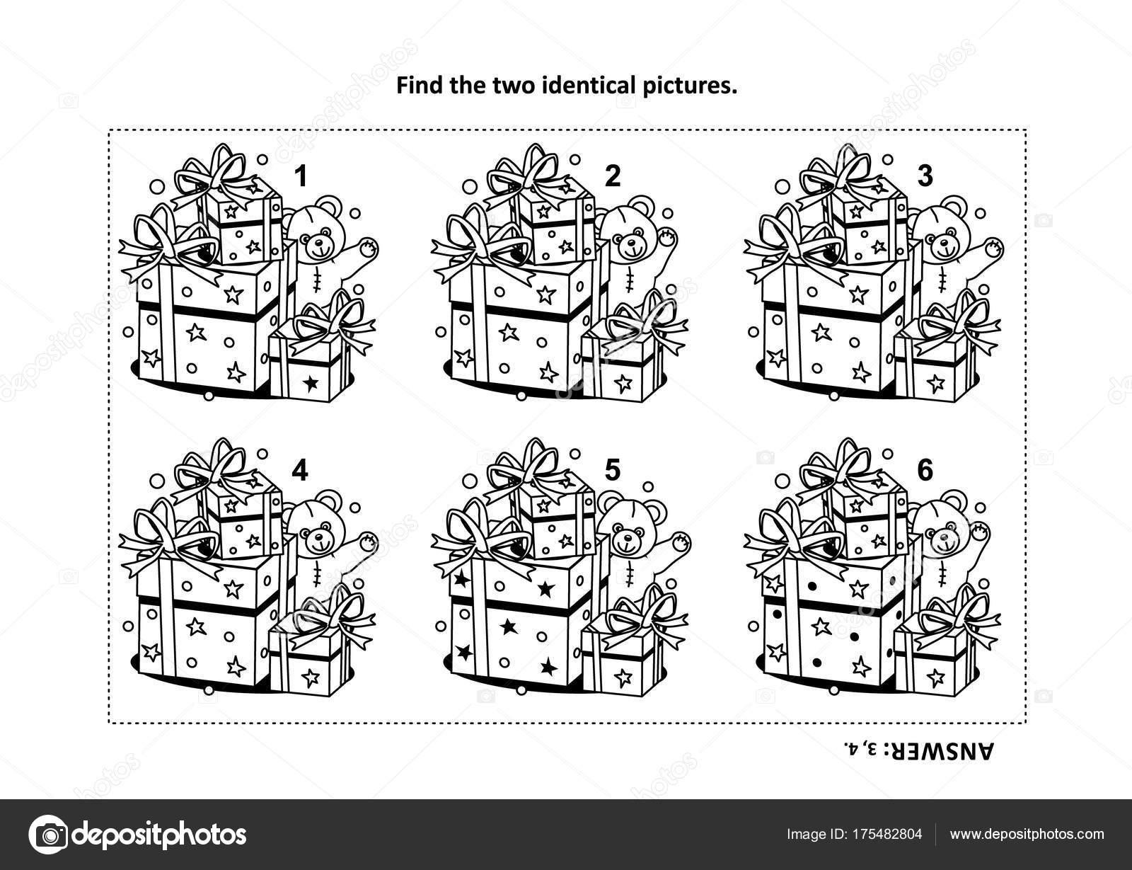 Eğitim Hediyeler Oyuncak Ayı Görsel Puzzle Boyama Sayfası Ile Iki