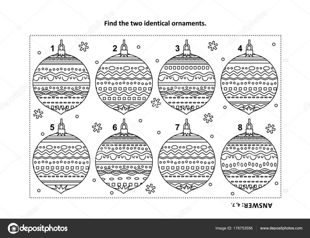 Vacaciones Invierno Año Nuevo Navidad Temática Encontrar Los Dos ...