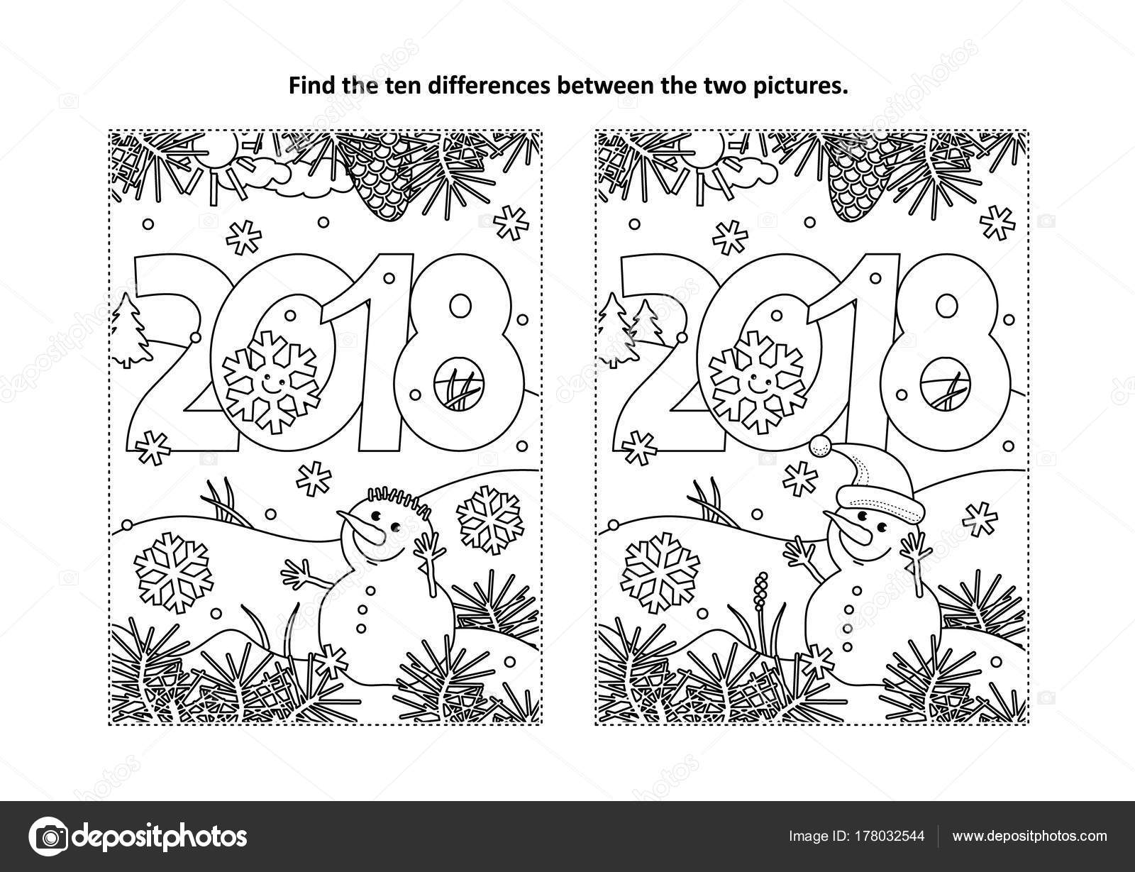 New Year Christmas Themed Find Ten Differences Picture Puzzle