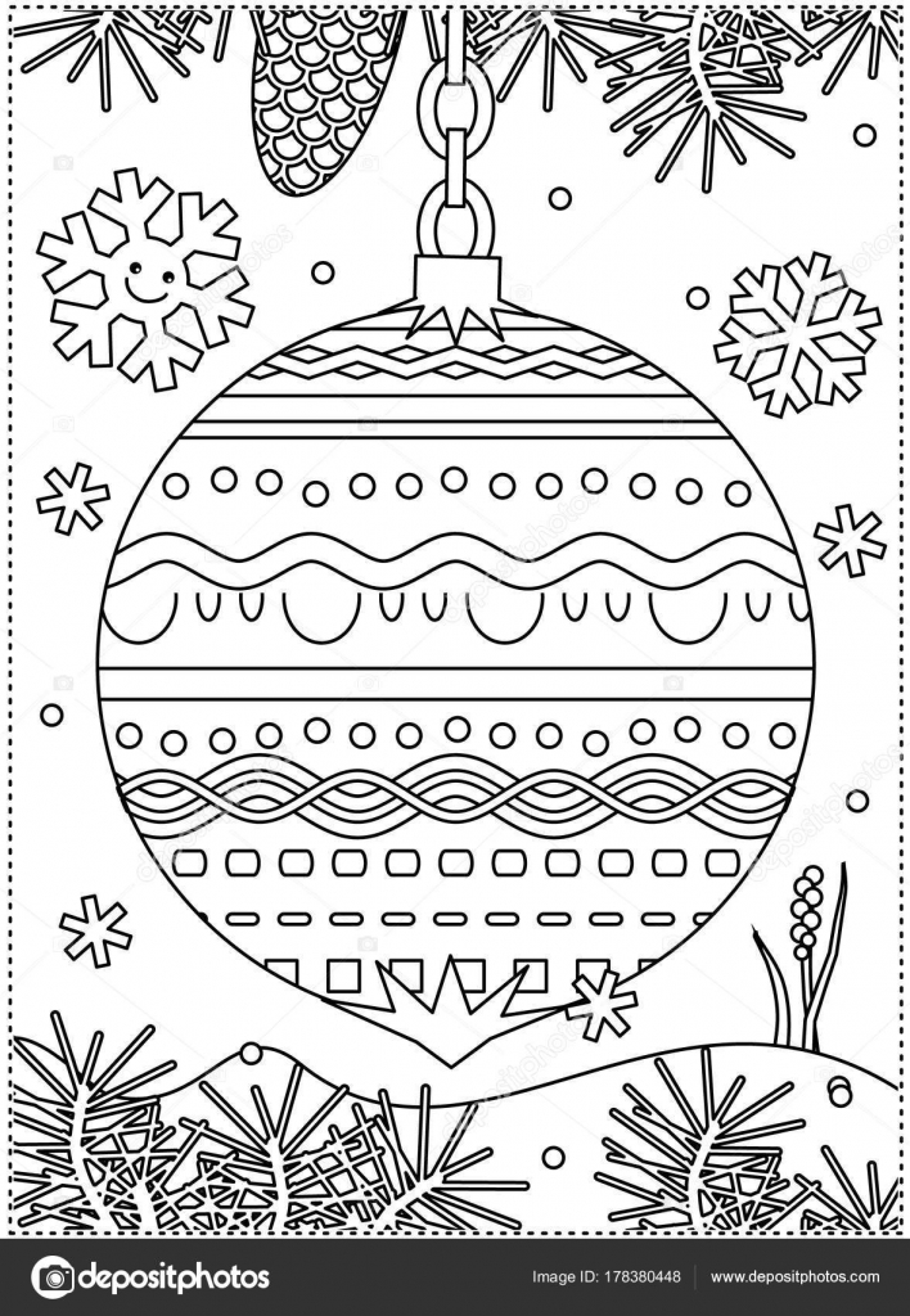 Página Para Colorear Para Niños Adultos Con Ornamento Decorada Ramas ...
