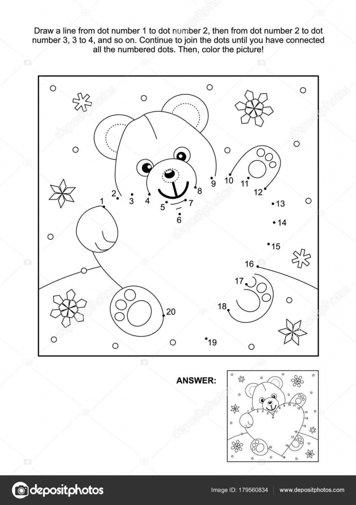 - Valentine Day Themed Connect Dots Picture Puzzle Coloring Page Teddy —  Stock Vector © Ratselmeister #179560834