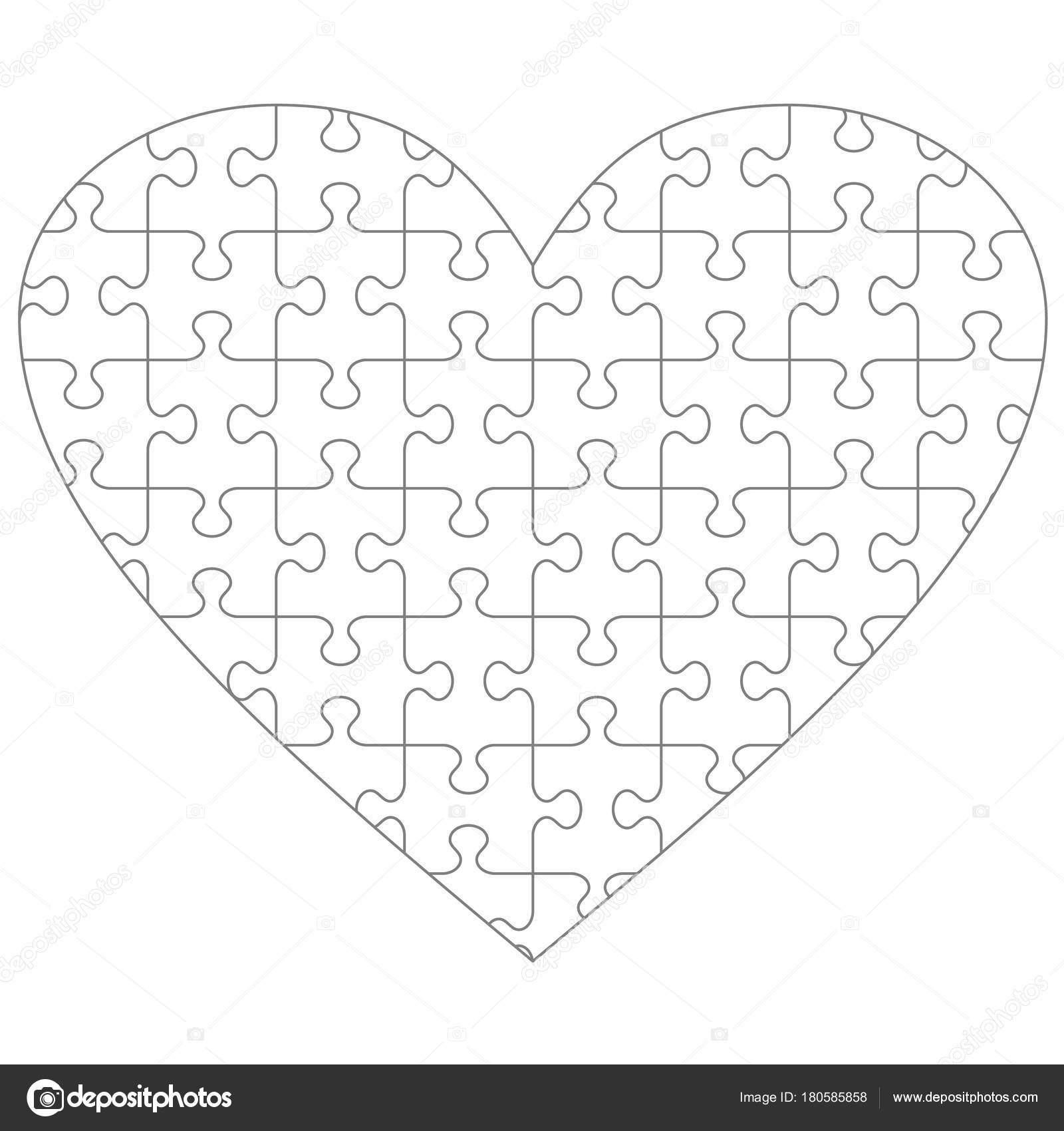 Heart Shaped Jigsaw Puzzle Blank Template Classic Style Transparent ...