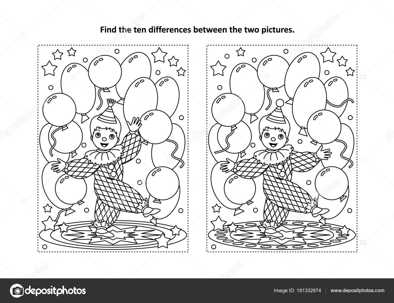 Circus Themed Find Ten Differences Picture Puzzle Coloring Page ...