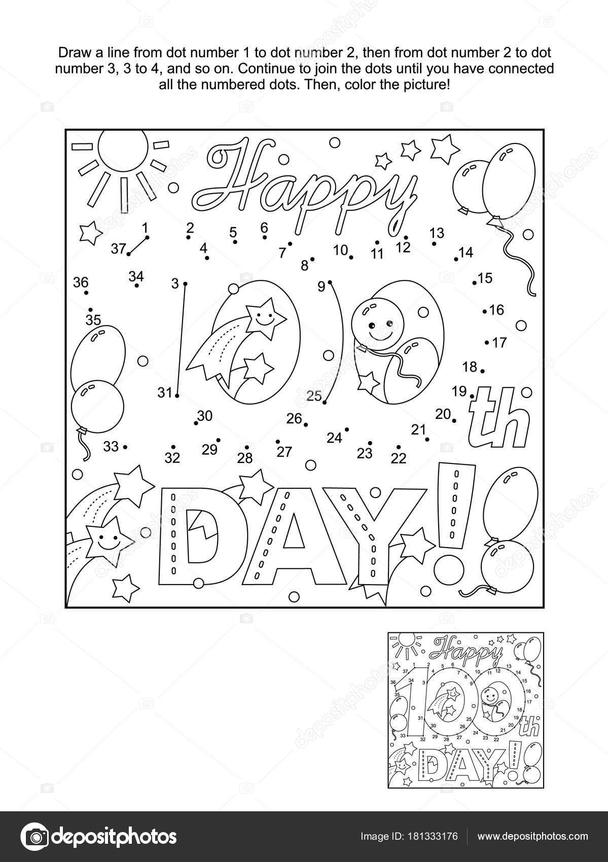 学校学習お祝いテーマの 100 日接続ドット画像パズル ぬりえページ 幸せ