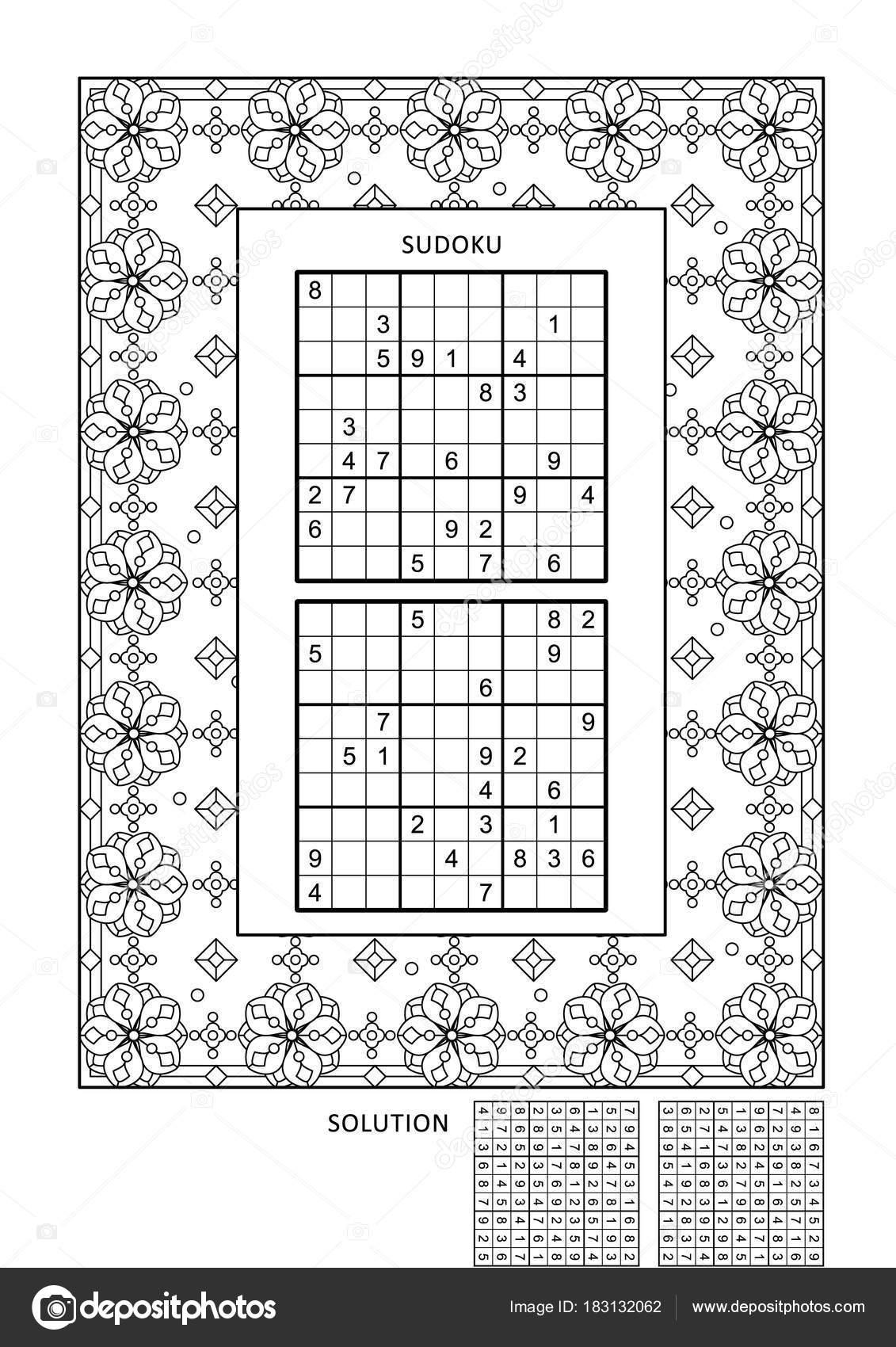 Rompecabezas Colorear Página Actividad Para Adultos Con Dos Puzzles ...