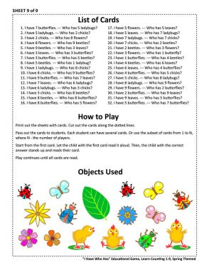 Educational math game - I Have Who Has - for group of young learners (classroom, kids party). Sheet 9 of 9. Learn, reinforce, subitize counting from 1 to 9. Spring or summer themed.