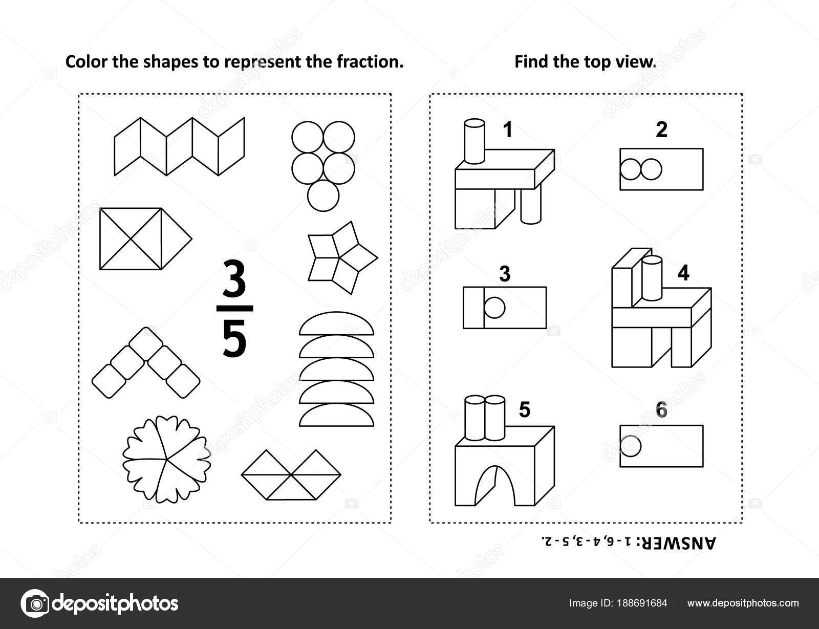 Two Visual Math Puzzles Coloring Pages Color Shapes ...