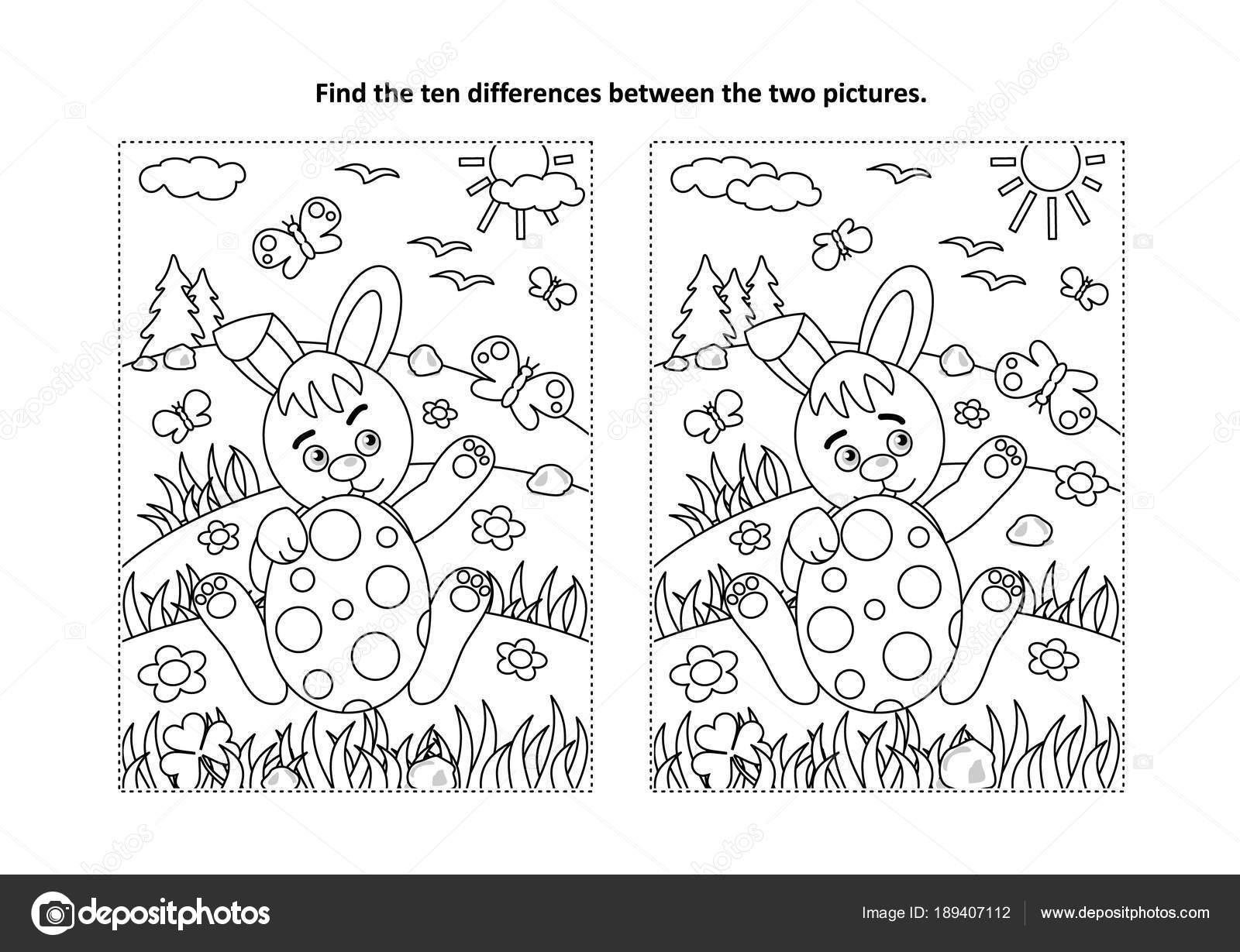 Kleurplaten Thema Pasen.Pasen Vakantie Thema Zoek Tien Verschillen Afbeeldingspuzzel