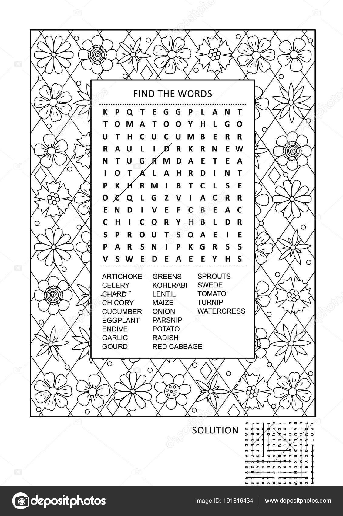 Engelse Woord Voor Kleurplaten.Puzzel Activiteitenpagina Kleurplaten Voor Volwassenen Met Groenten