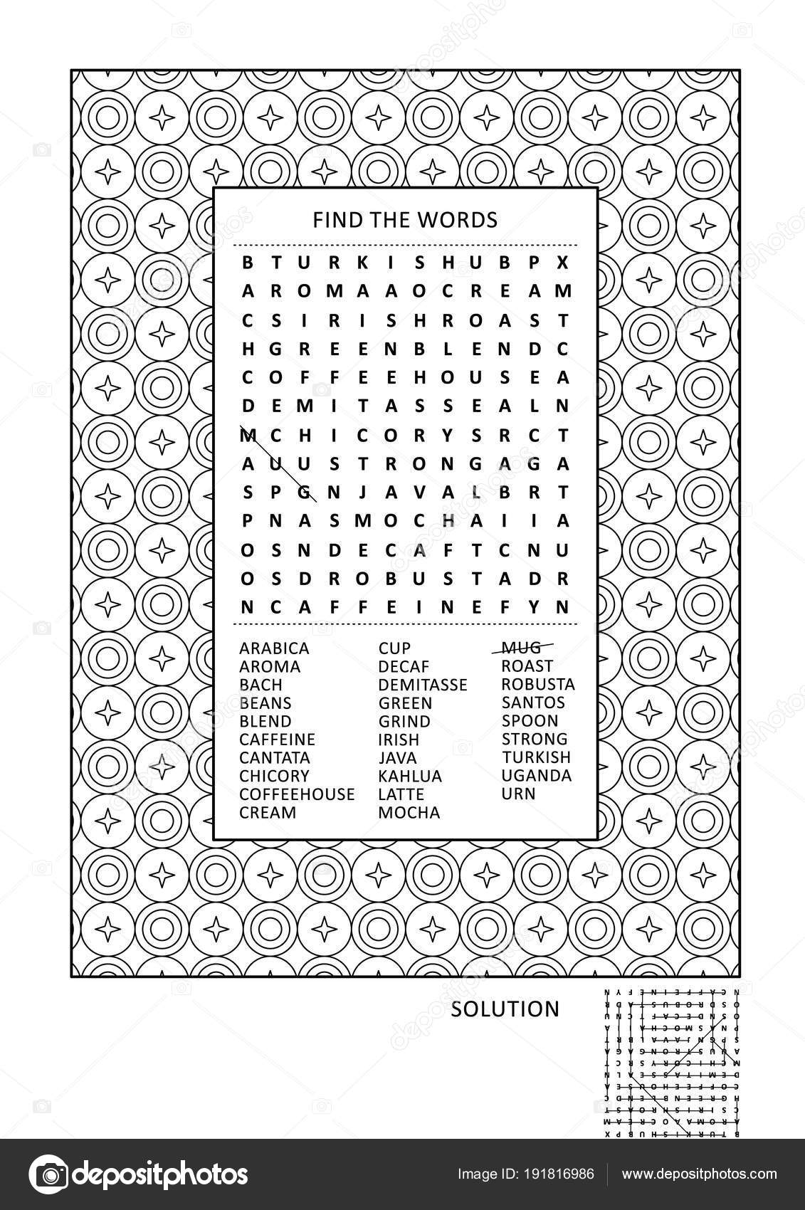 Puzzle And Coloring Activity Page For Grown Ups With Coffee Themed Word Search English Wide Decorative Frame To Color Family Friendly