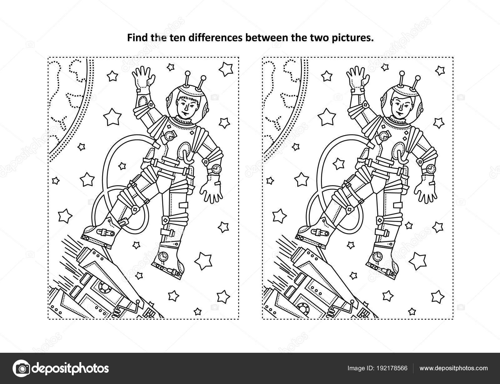Unter Dem Motto Des Weltraums Finden Sie Die Zehn Unterschiede ...