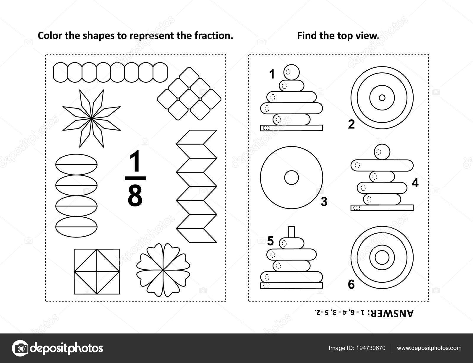 Zwei Optische Mathe Rätsel Und Malvorlagen Farbe Der Formen Den ...