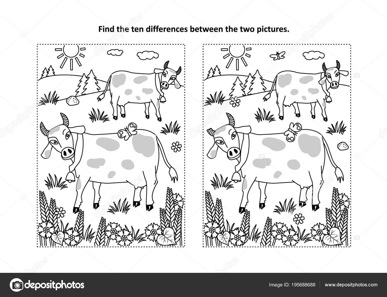 Farklılıklar Resimli Bulmaca Benekli Süt Inekleri Boyama Sayfası