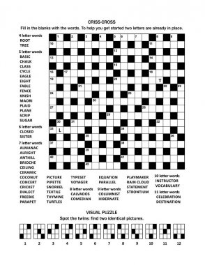 Puzzle page with 19x19 criss-cross (fill-in) crossword word game (English language) and visual puzzle with cats: Spot the twins: find two identical pictures.
