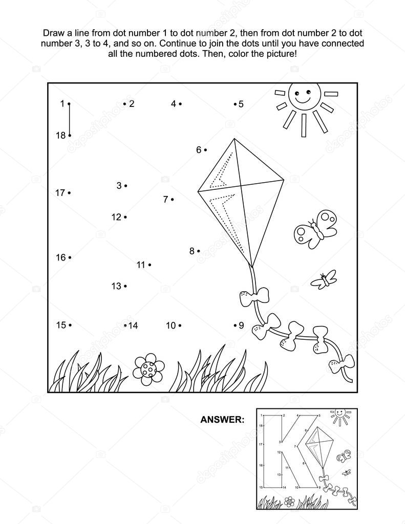 ✅ This is math and literacy reinforcement worksheet for little students  with letter K dot-to-dot activity and picture which name starts with this  letter of English alphabet (kite). Answer included. premium vector