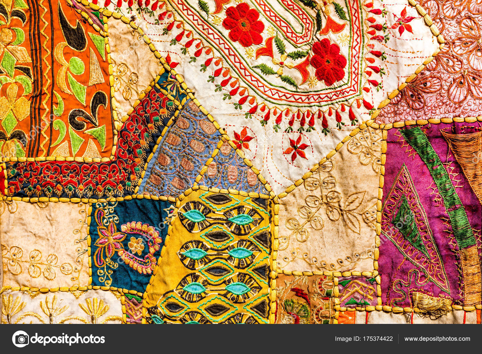 Alten indischen Patchwork-Teppich. Rajasthan, Indien — Stockfoto ...