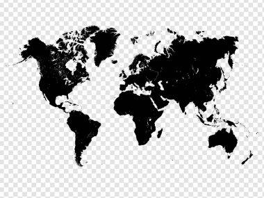 black world map icon