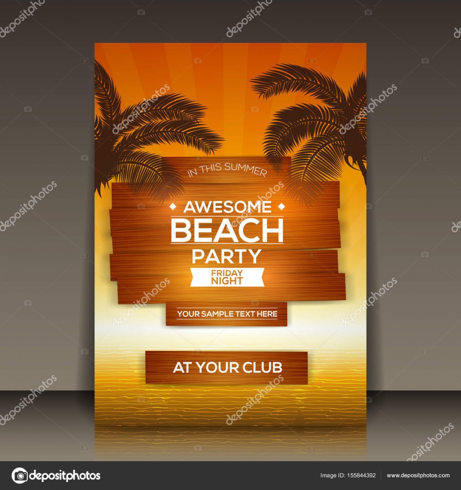 Beach Party Flyer Template — Stock Vector © hunthomas #155844392
