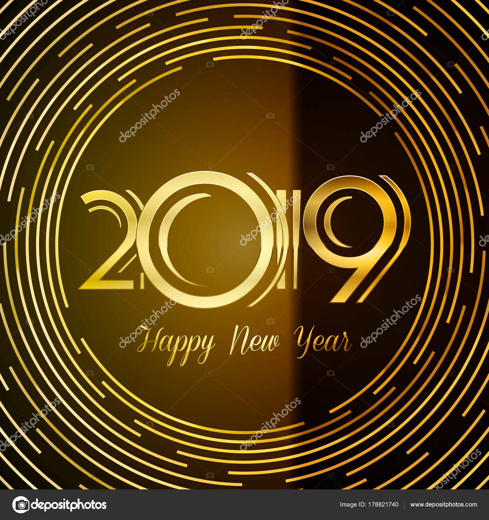 Happy new year 2019 greeting card golden numbers on dark happy new year 2019 greeting card golden numbers on dark background with round lines design kristyandbryce Choice Image