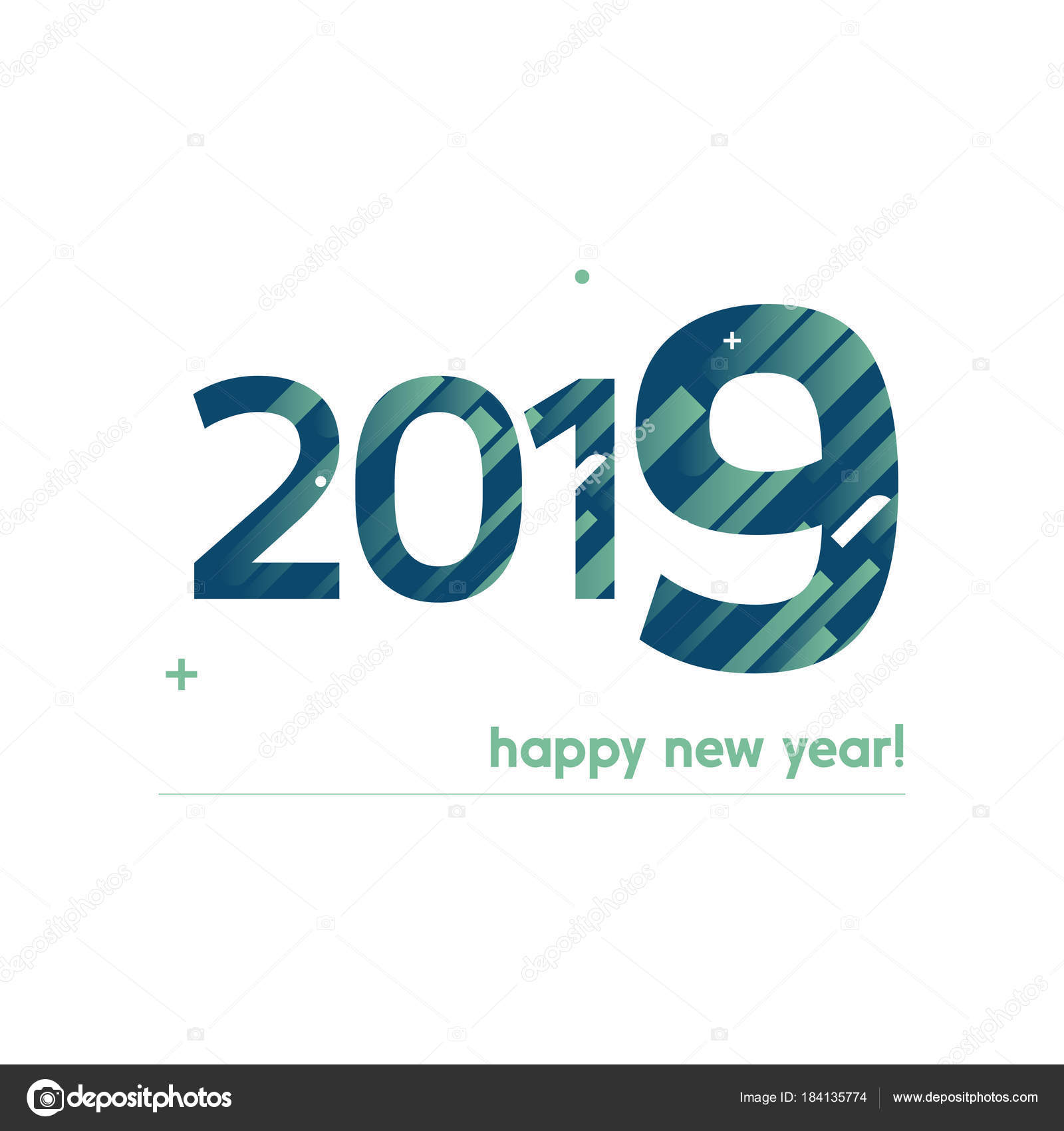 Happy New Year 2019 Vector Illustration - Bold Text with