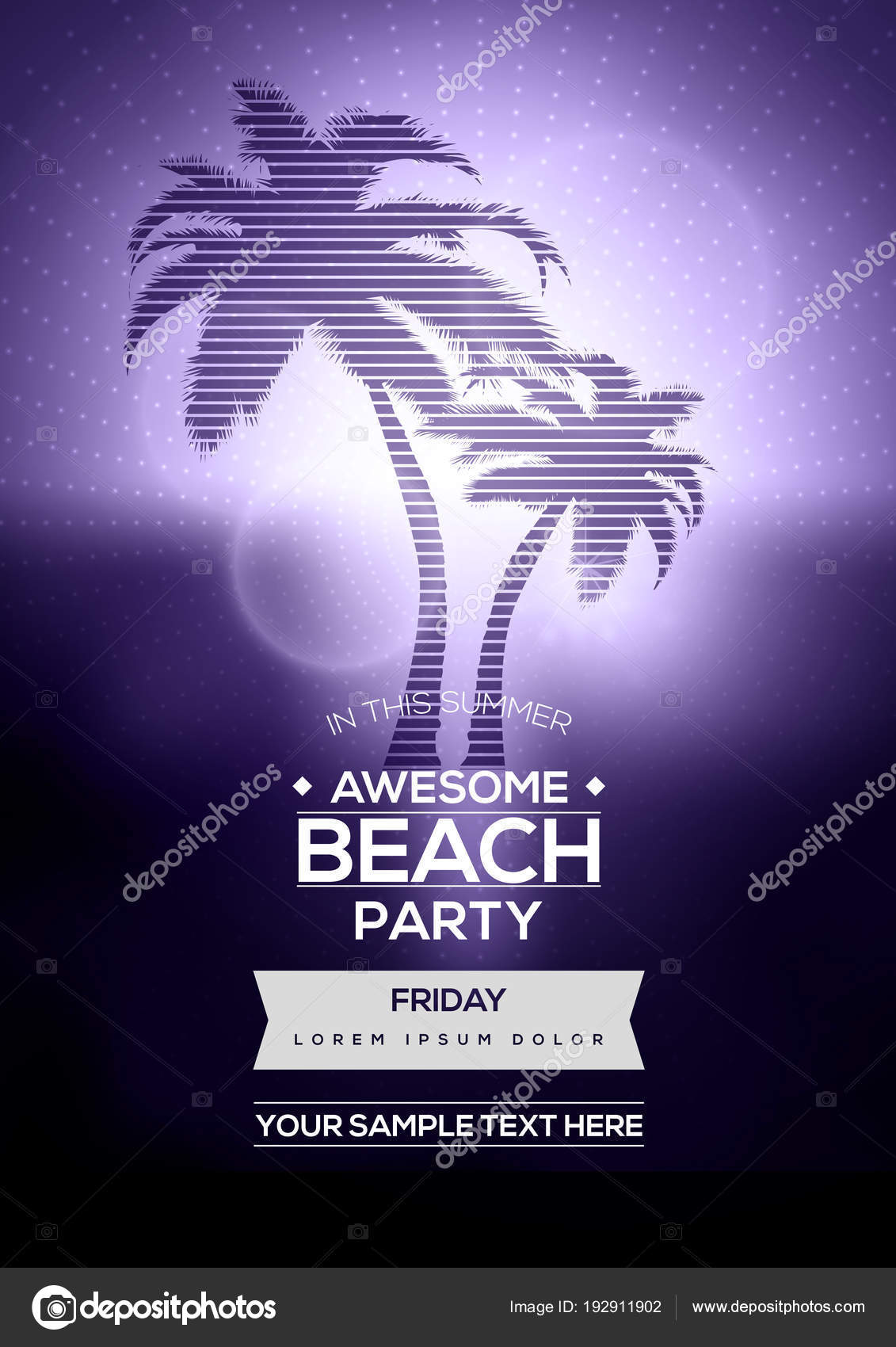 purple retro summer party flyer template vector background with palm