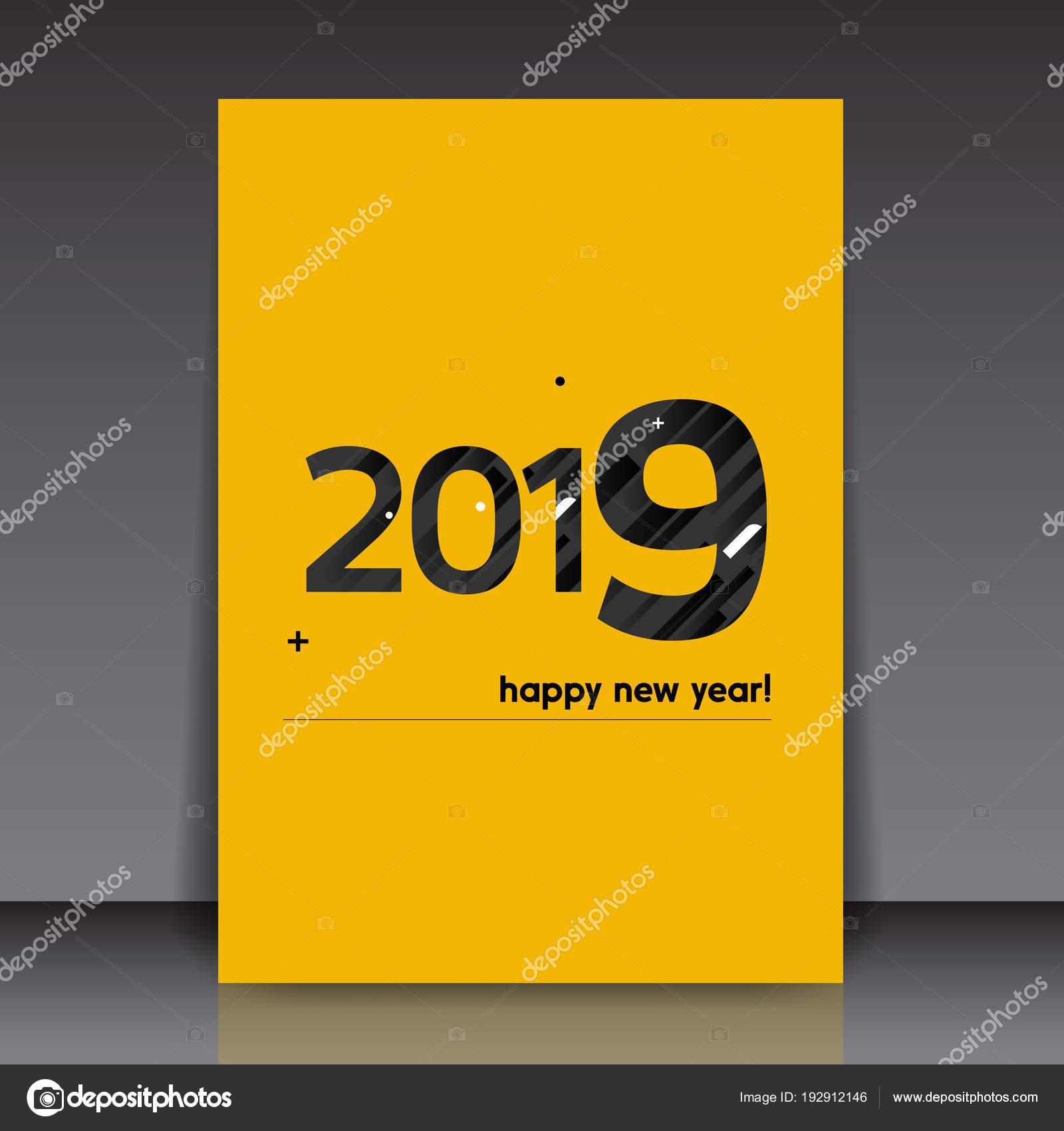 Texto de feliz año nuevo 2019 negro sobre fondo amarillo - Editable ...