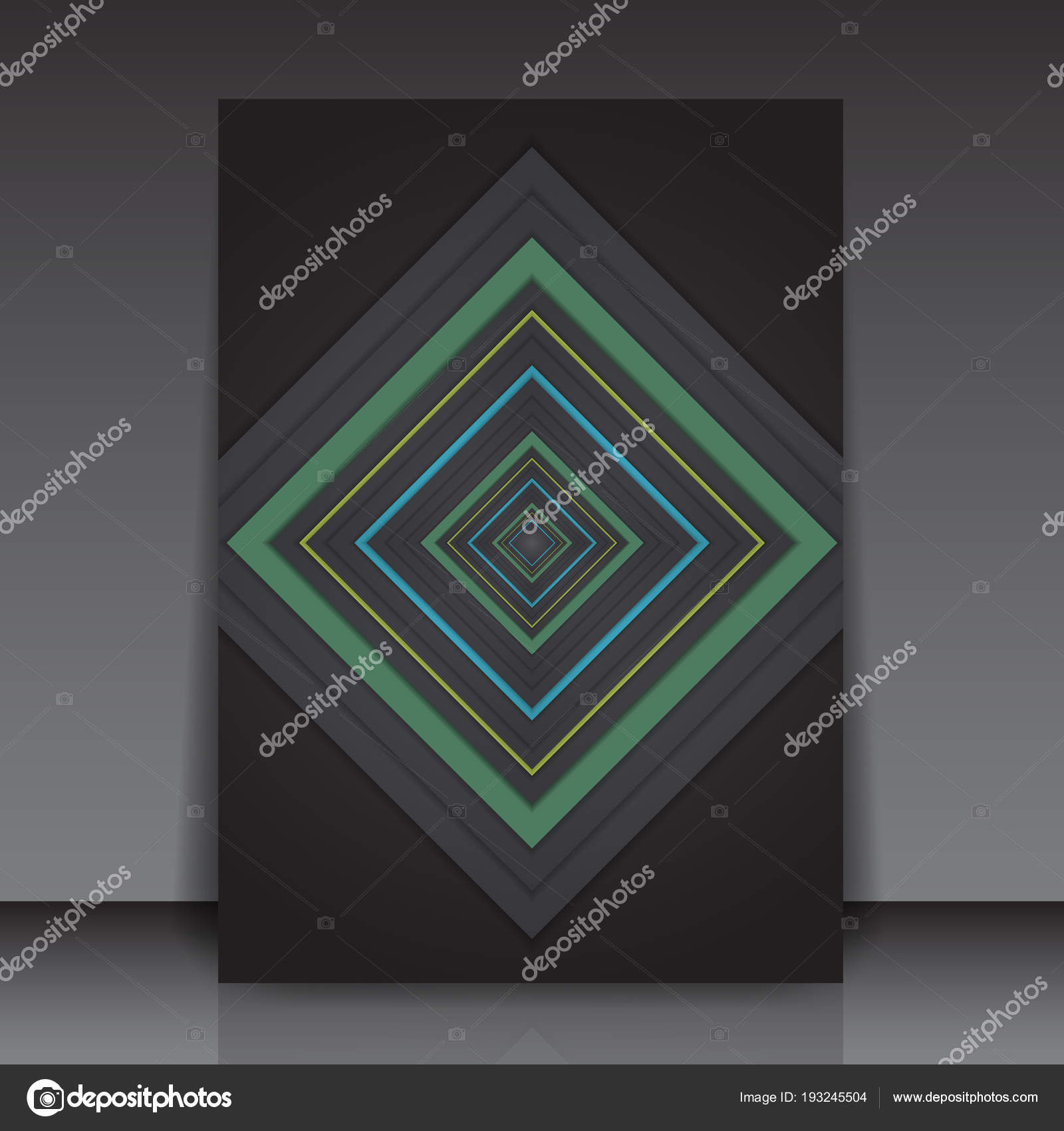 Abstract Colorful Geometric Square Editable Flyer Template Vector