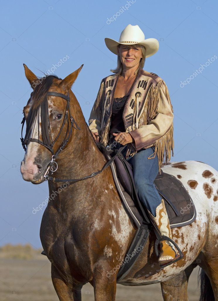Cowgirl On Appaloosa Horse Stock Photo C Cynoclub 127269766