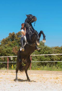 training of riding girl