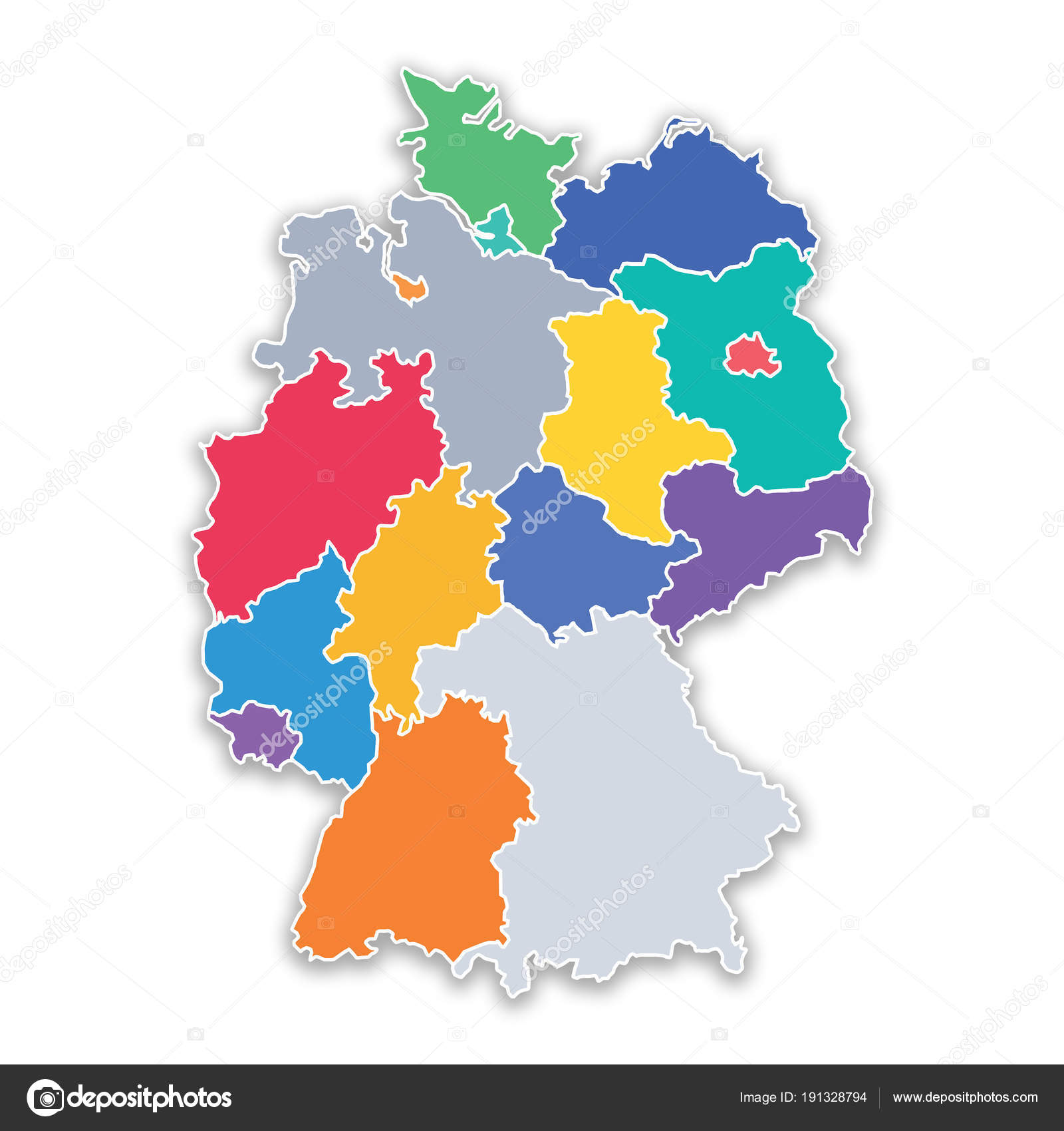 Map of states of Germany in flat colors — Stock Photo © MIPImages ...