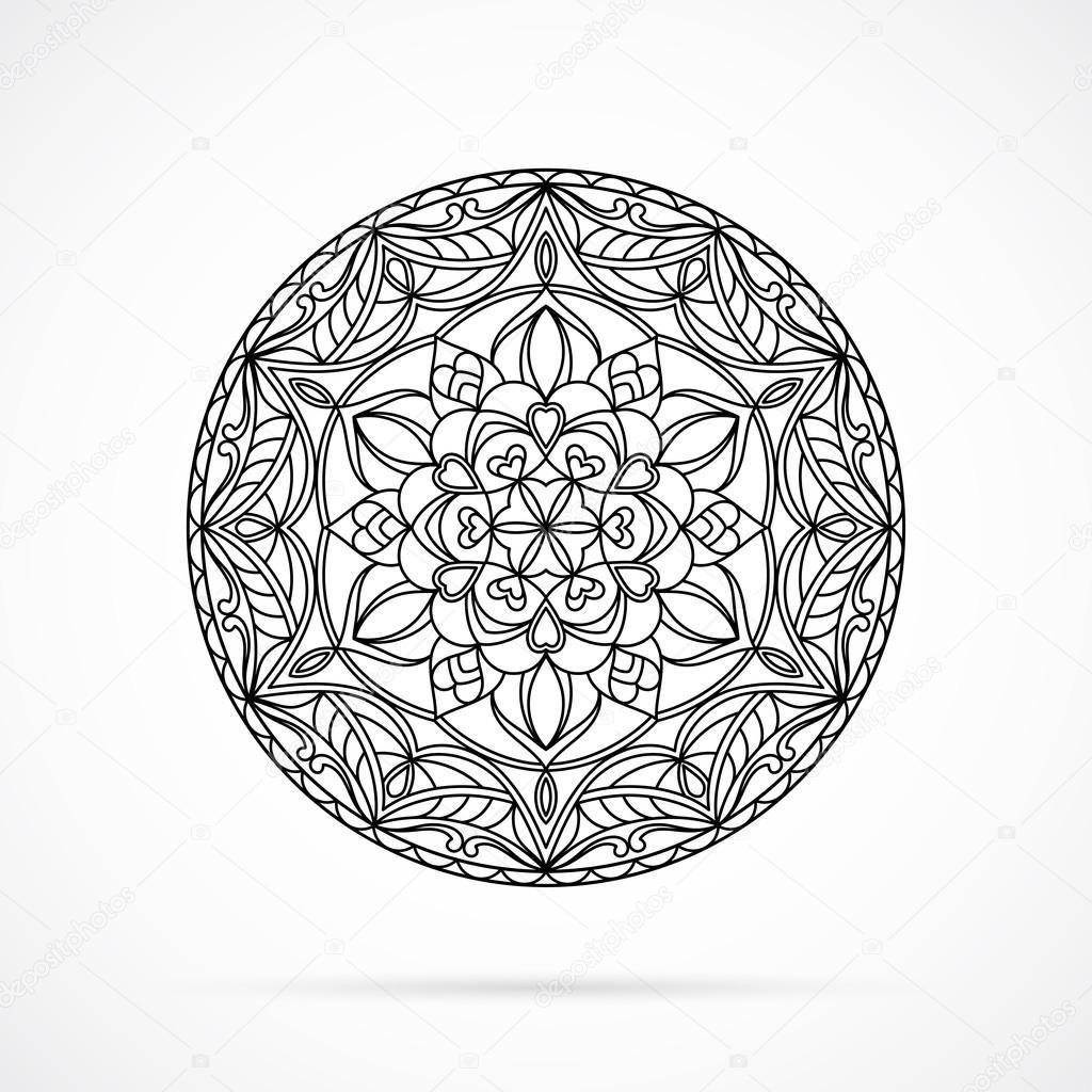 Vector Black Color Mandala über weiß — Stockvektor © McAndy #127779634