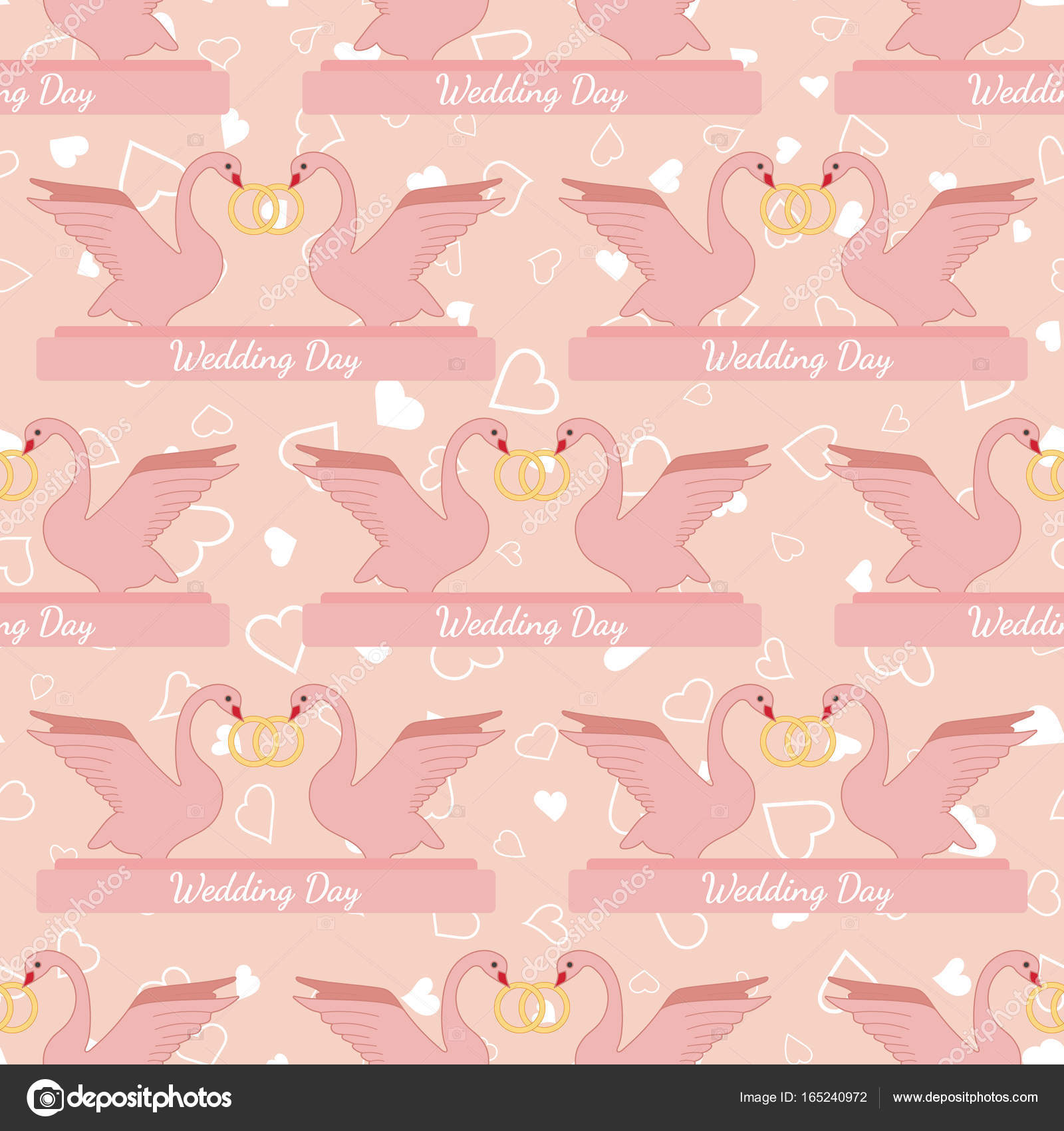 Wedding seamless pattern with pink swans hold gold rings — Stock ...