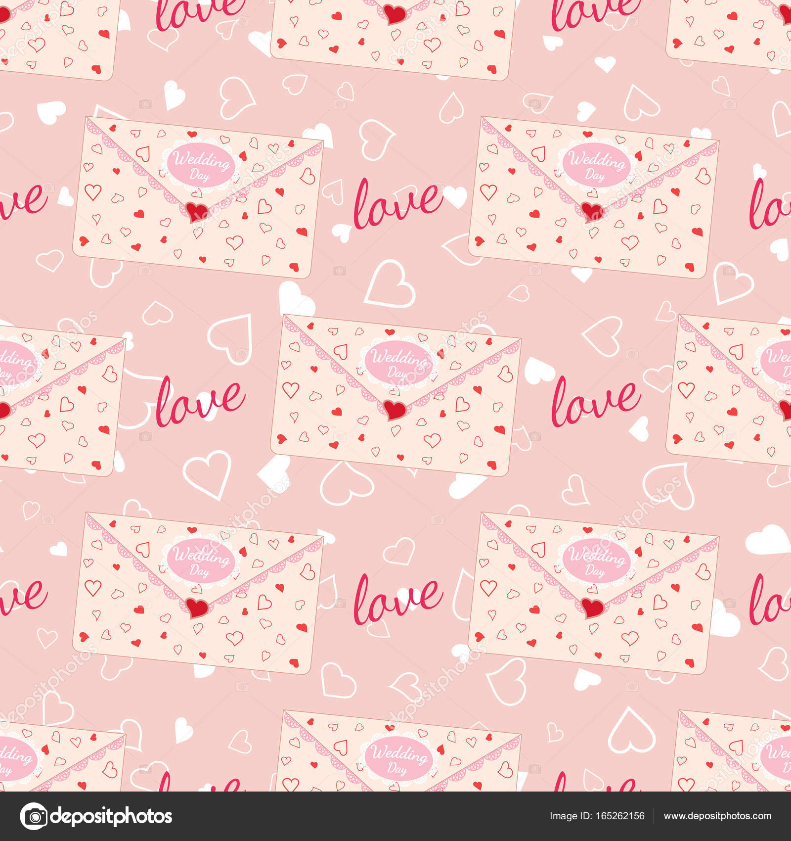 Wedding Seamless Pattern With Letter Decorated With Lace And Texture