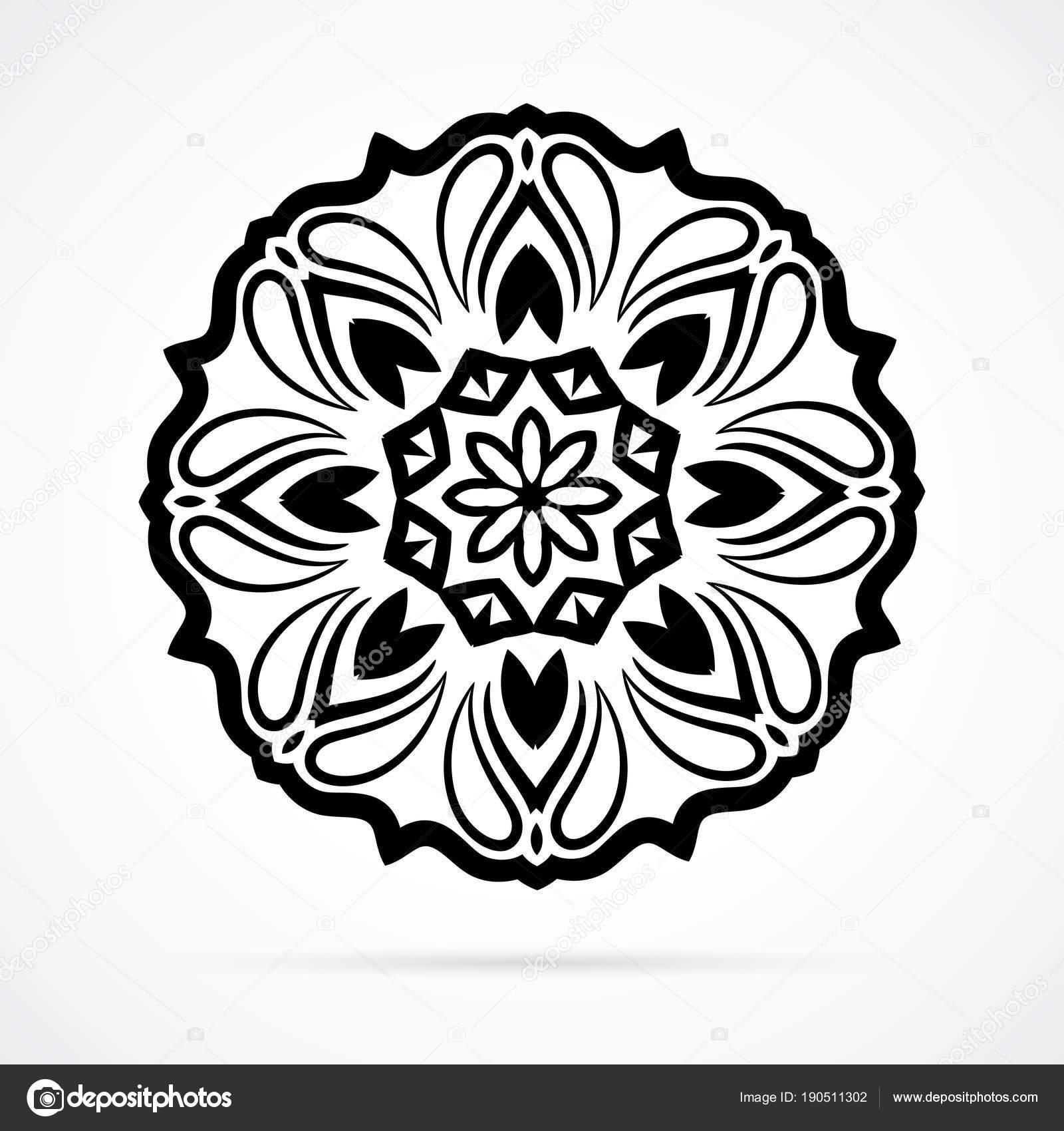 Vector Black Geometrie Mandala über weiß — Stockvektor © McAndy ...