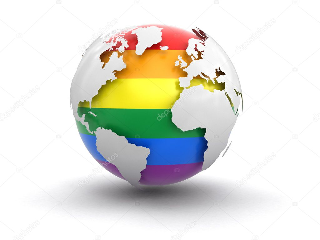 3d globe with gay pride color. image with clipping path — stock
