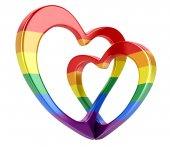 Dvě vázané barva srdce. Obraz s ořezovou cestou
