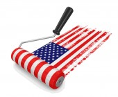 Photo Paint roller with USA flag. Image with clipping path