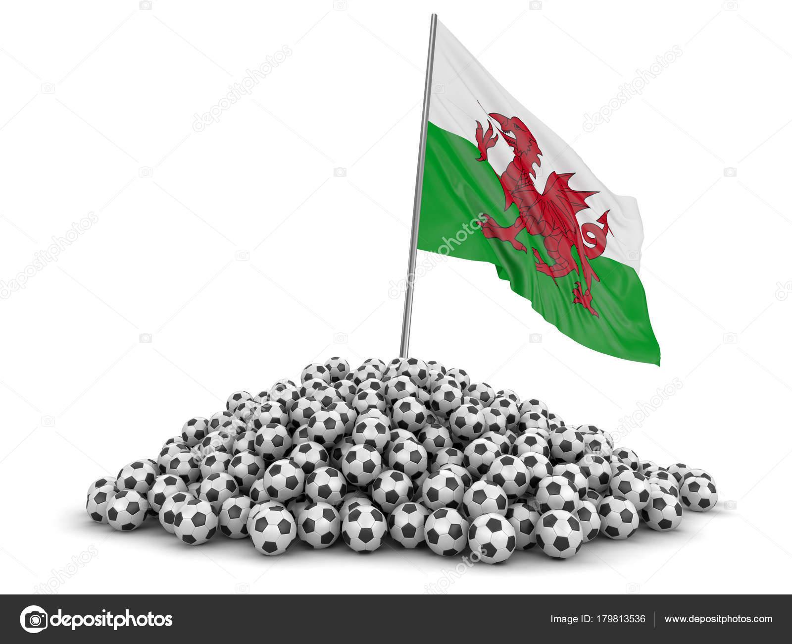 Montón Pelotas Fútbol Bandera Gales Imagen Con Trazado Recorte ...