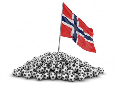 Soccer football with Norwegian flag. Image with clipping path
