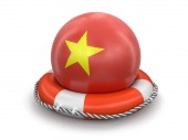 Ball with Vietnamese flag on lifebuoy. Image with clipping path