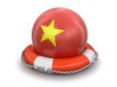 Vietnámi zászló mentőgyűrűt labdát. Kép Vágógörbe