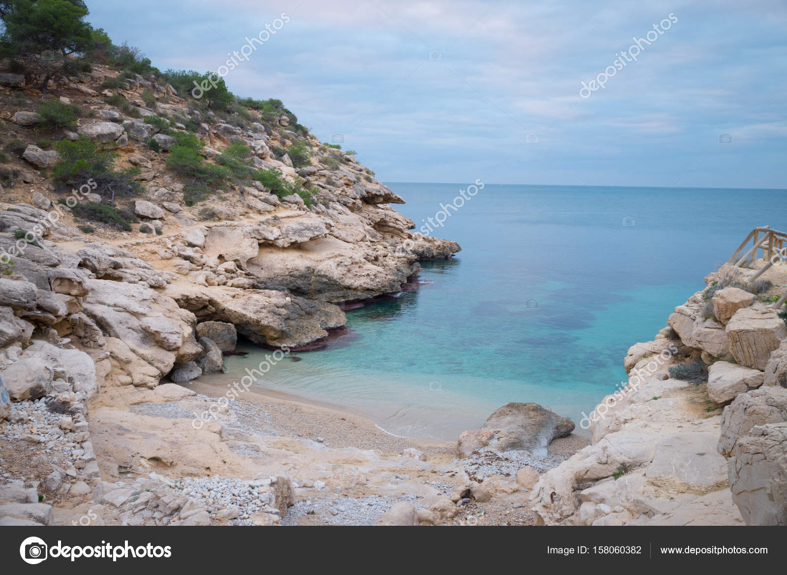 Conill, one of the most popular nudist beaches on Costa Blanca, Spain,  amidst scenic rocky landscape — Photo by ...