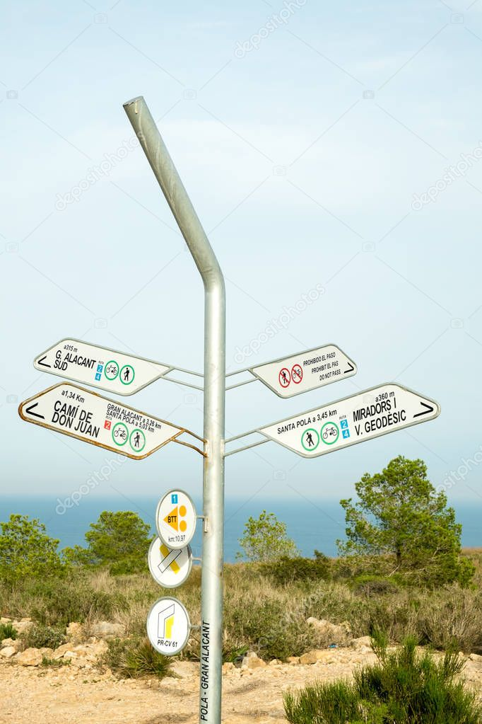Hiking signpost on Costa Blanca